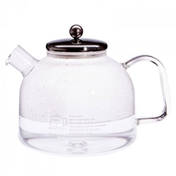 German Glass Water Kettle w Stainless Steel Lid  German Glass Stove-Top Kettle, Glass Kettle, Glass Teapot, glass tea pot,